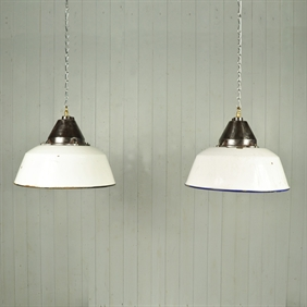 White Enamel Factory Pendant Lights