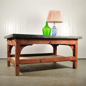 Zinc Topped Industrial Saw Mill Table