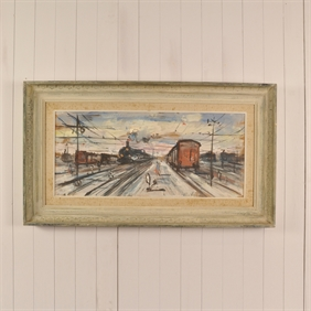 Vintage Painting of a Train Station