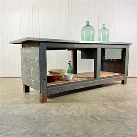 Zinc Topped Factory Workbench
