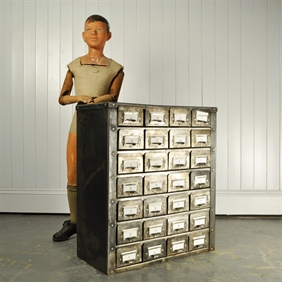 Medium Polished Steel Filing Cabinet