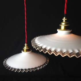 1920's Clear Edged Pendant Lights