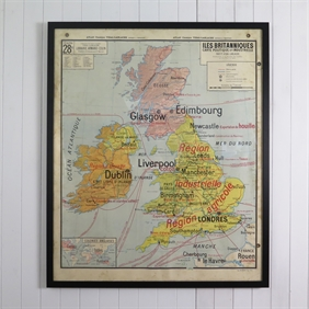 Vintage French Framed Map of England