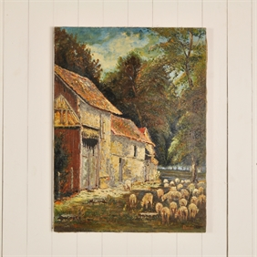 Antique Painting of a Farmyard Scene
