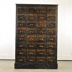 Bank of Apothecary Drawers