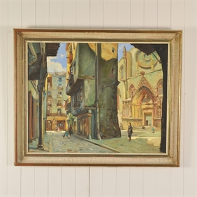 Mid Century Painting of the Plaça de Santa Maria, Spain