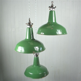 Medium Green Enamel Factory Pendants