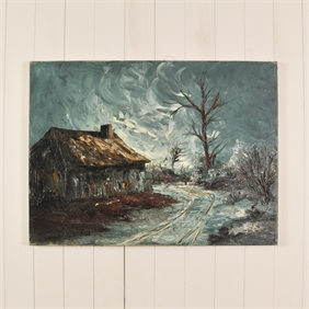 Antique Painting of a Winter Scene