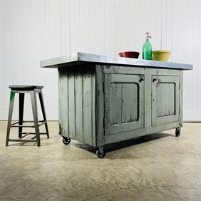 Zinc Topped Industrial Workbench