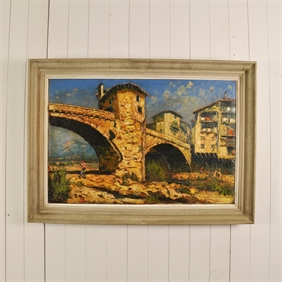 Antique Painting of the Sospel Bridge