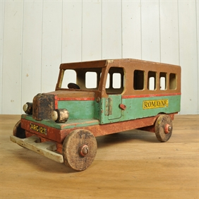 Early 20th Century Painted Wooden Bus