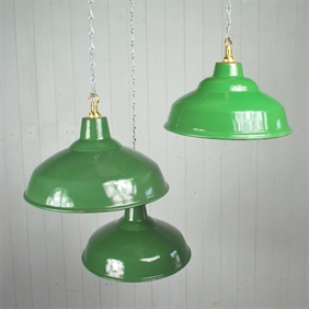 Small Green Enamel Factory Pendants