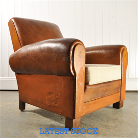 1930's French Leather Arm Chair
