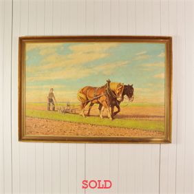 Mid Century Painting of Horses Ploughing