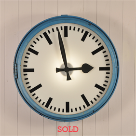 Large Blue Factory Clock