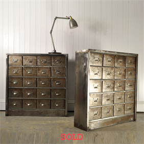 Polished Steel Industrial Drawers