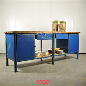 Large Blue Vintage Workbench