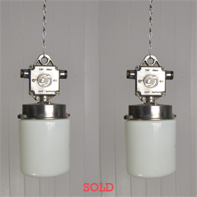 Vintage Opaline Factory Pendant Lights