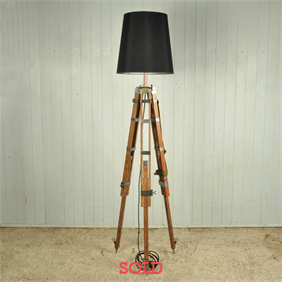 Stripped and Polished Surveyors Tripod Lamp