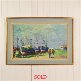 Vintage Painting of a Harbour Scene