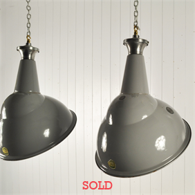 Vintage Enamel and Angled Factory Pendants