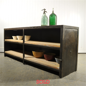 1920's Steel Counter / Shelving Unit