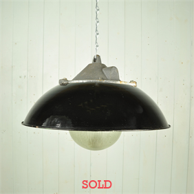 Vintage Czech Industrial Lights with Glass Domes