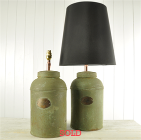 A pair of Painted Seed Canister Lamps