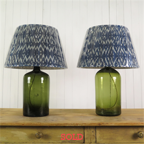 Tall Green Repurposed Bottle Lamps