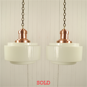 Large Opaline and Copper Pendants
