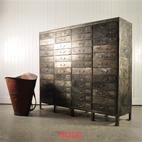 Huge Polished Steel Industrial Drawers