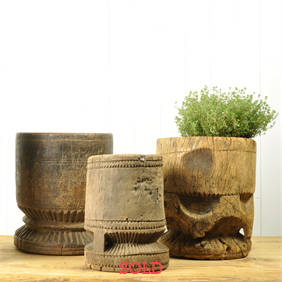 Antique Wooden Mortars
