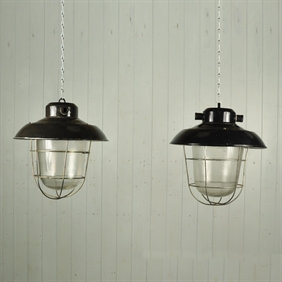 Vintage Czech Caged Industrial Lights