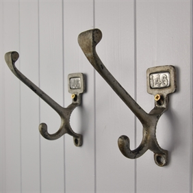 'Silver' Vintage Numbered School Coat Hooks