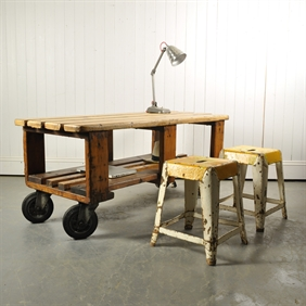 Vintage Factory Trolley / Coffee Table