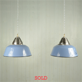 Vintage Blue / Grey Enamel Factory Pendants