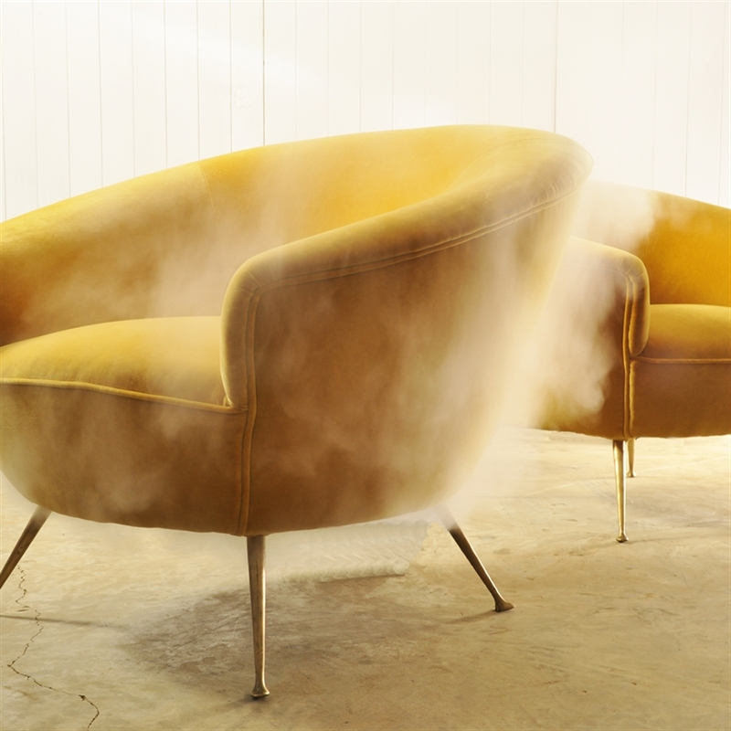 yellow midcentury armchairs