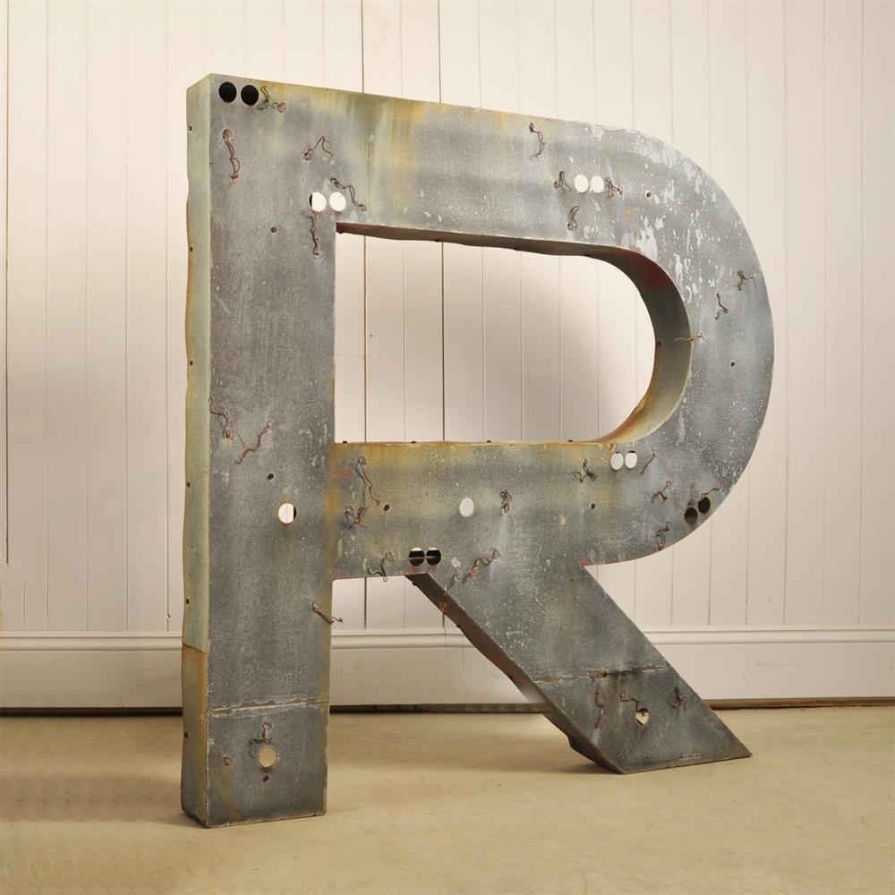 Large Metal Letter R Large Vintage Metal Letter  Original House  Vintage Industrial