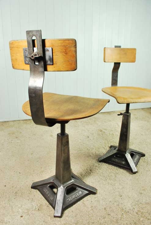 Vintage Singer Sewing Chair & Vintage Singer Sewing Machine Chairs - Vintage Industrial - Original ...