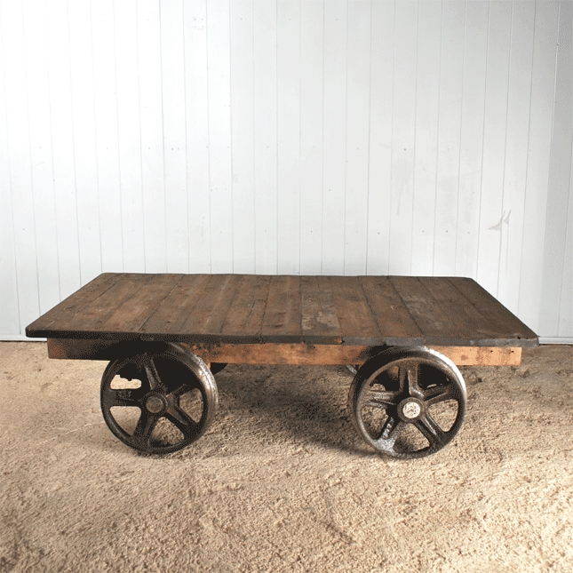 Salvaged Foundry Trolley Coffee Table Vintage Industrial Furniture Original House